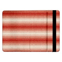Horizontal Red Curly Stripes Samsung Galaxy Tab Pro 12 2  Flip Case by BestCustomGiftsForYou