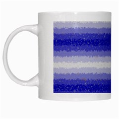 Horizontal Dark Blue Curly Stripes White Coffee Mug by BestCustomGiftsForYou