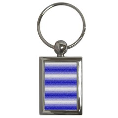 Horizontal Dark Blue Curly Stripes Key Chain (rectangle) by BestCustomGiftsForYou