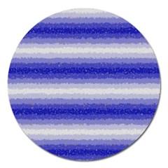 Horizontal Dark Blue Curly Stripes Magnet 5  (round) by BestCustomGiftsForYou