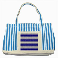 Horizontal Dark Blue Curly Stripes Blue Striped Tote Bag by BestCustomGiftsForYou