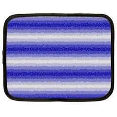 Horizontal Dark Blue Curly Stripes Netbook Sleeve (large) by BestCustomGiftsForYou