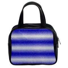 Horizontal Dark Blue Curly Stripes Classic Handbag (two Sides) by BestCustomGiftsForYou