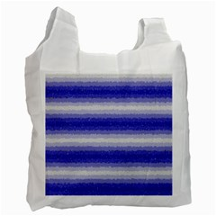 Horizontal Dark Blue Curly Stripes White Reusable Bag (one Side) by BestCustomGiftsForYou