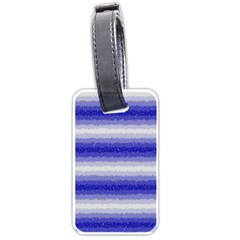 Horizontal Dark Blue Curly Stripes Luggage Tag (one Side) by BestCustomGiftsForYou