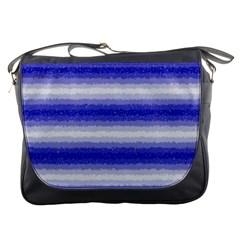 Horizontal Dark Blue Curly Stripes Messenger Bag by BestCustomGiftsForYou