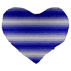 Horizontal Dark Blue Curly Stripes 19  Premium Heart Shape Cushion by BestCustomGiftsForYou