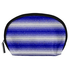 Horizontal Dark Blue Curly Stripes Accessory Pouch (large) by BestCustomGiftsForYou