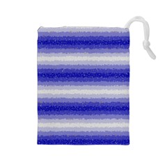 Horizontal Dark Blue Curly Stripes Drawstring Pouch (large) by BestCustomGiftsForYou