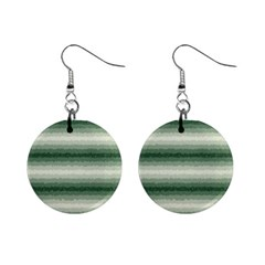 Horizontal Dark Green Curly Stripes Mini Button Earrings by BestCustomGiftsForYou