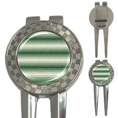 Horizontal Dark Green Curly Stripes Golf Pitchfork & Ball Marker by BestCustomGiftsForYou