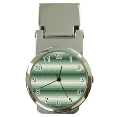 Horizontal Dark Green Curly Stripes Money Clip With Watch