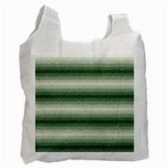 Horizontal Dark Green Curly Stripes White Reusable Bag (one Side) by BestCustomGiftsForYou