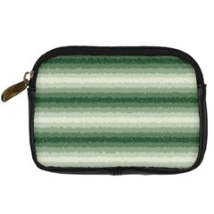 Horizontal Dark Green Curly Stripes Digital Camera Leather Case by BestCustomGiftsForYou