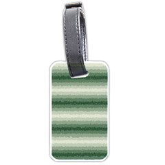Horizontal Dark Green Curly Stripes Luggage Tag (two Sides) by BestCustomGiftsForYou