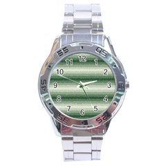 Horizontal Dark Green Curly Stripes Stainless Steel Watch by BestCustomGiftsForYou