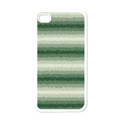 Horizontal Dark Green Curly Stripes Apple Iphone 4 Case (white) by BestCustomGiftsForYou