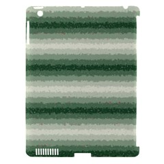 Horizontal Dark Green Curly Stripes Apple Ipad 3/4 Hardshell Case (compatible With Smart Cover) by BestCustomGiftsForYou