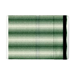 Horizontal Dark Green Curly Stripes Apple Ipad Mini Flip Case by BestCustomGiftsForYou