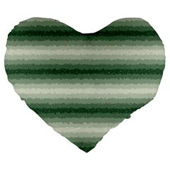 Horizontal Dark Green Curly Stripes 19  Premium Heart Shape Cushion by BestCustomGiftsForYou