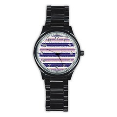 Horizontal Native American Curly Stripes   2 Sport Metal Watch (black)
