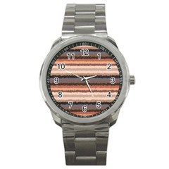 Horizontal Native American Curly Stripes - 4 Sport Metal Watch by BestCustomGiftsForYou