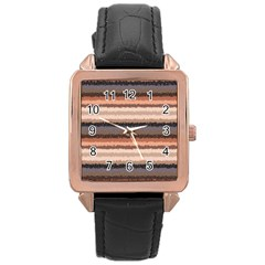 Horizontal Native American Curly Stripes   4 Rose Gold Leather Watch