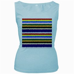 Horizontal Vivid Colors Curly Stripes   1 Women s Tank Top (baby Blue) by BestCustomGiftsForYou