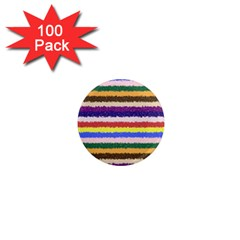 Horizontal Vivid Colors Curly Stripes   1 1  Mini Button Magnet (100 Pack) by BestCustomGiftsForYou