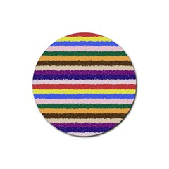 Horizontal Vivid Colors Curly Stripes   1 Drink Coaster (round) by BestCustomGiftsForYou