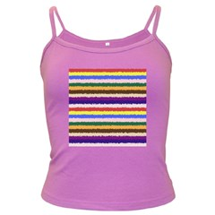 Horizontal Vivid Colors Curly Stripes - 1 Spaghetti Top (Colored) by BestCustomGiftsForYou