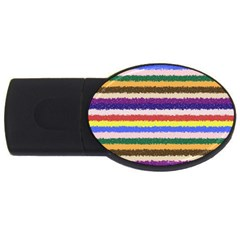 Horizontal Vivid Colors Curly Stripes   1 4gb Usb Flash Drive (oval) by BestCustomGiftsForYou