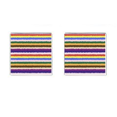 Horizontal Vivid Colors Curly Stripes   1 Cufflinks (square) by BestCustomGiftsForYou