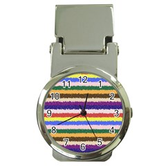 Horizontal Vivid Colors Curly Stripes   1 Money Clip With Watch by BestCustomGiftsForYou