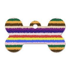 Horizontal Vivid Colors Curly Stripes   1 Dog Tag Bone (two Sided) by BestCustomGiftsForYou