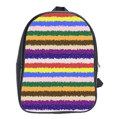 Horizontal Vivid Colors Curly Stripes   1 School Bag (large) by BestCustomGiftsForYou