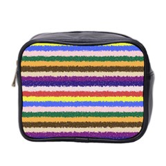 Horizontal Vivid Colors Curly Stripes   1 Mini Travel Toiletry Bag (two Sides) by BestCustomGiftsForYou
