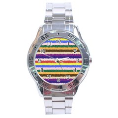 Horizontal Vivid Colors Curly Stripes   1 Stainless Steel Watch by BestCustomGiftsForYou