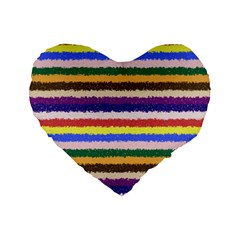 Horizontal Vivid Colors Curly Stripes   1 16  Premium Heart Shape Cushion  by BestCustomGiftsForYou