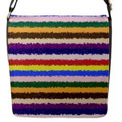 Horizontal Vivid Colors Curly Stripes   1 Flap Closure Messenger Bag (small)