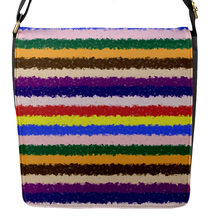 Horizontal Vivid Colors Curly Stripes - 1 Flap Closure Messenger Bag (Small)
