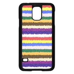 Horizontal Vivid Colors Curly Stripes - 1 Samsung Galaxy S5 Case (Black) by BestCustomGiftsForYou