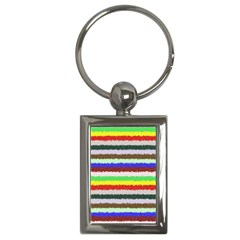 Horizontal Vivid Colors Curly Stripes   2 Key Chain (rectangle) by BestCustomGiftsForYou
