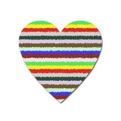 Horizontal Vivid Colors Curly Stripes   2 Magnet (heart) by BestCustomGiftsForYou