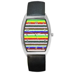 Horizontal Vivid Colors Curly Stripes   2 Tonneau Leather Watch by BestCustomGiftsForYou