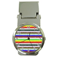 Horizontal Vivid Colors Curly Stripes   2 Money Clip With Watch by BestCustomGiftsForYou