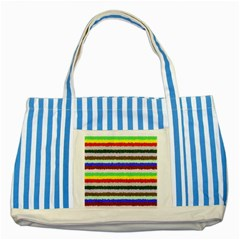 Horizontal Vivid Colors Curly Stripes   2 Blue Striped Tote Bag by BestCustomGiftsForYou