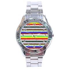 Horizontal Vivid Colors Curly Stripes   2 Stainless Steel Watch by BestCustomGiftsForYou