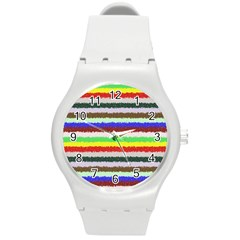 Horizontal Vivid Colors Curly Stripes   2 Plastic Sport Watch (medium) by BestCustomGiftsForYou