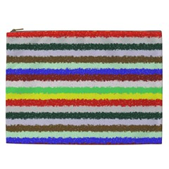 Horizontal Vivid Colors Curly Stripes   2 Cosmetic Bag (xxl) by BestCustomGiftsForYou